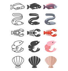 set of ocean and sea life icon vector image