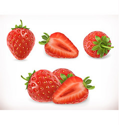 Strawberry Sweet fruit 3d icons set Realistic vector image vector image