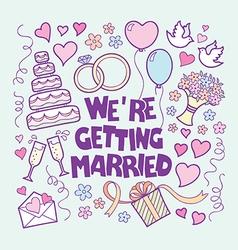 Vintage Wedding card hand drawn doodle styl vector image