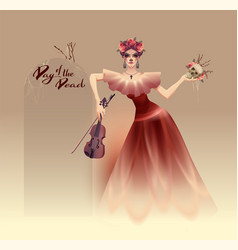 young beautiful woman holding skull and violin vector image