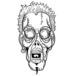 Black and white zombie face vector