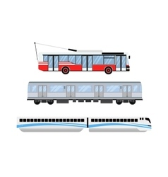 City road tram and trolleybus transport vector image