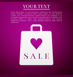 shopping bag shop love like heart icon with sale vector image vector image