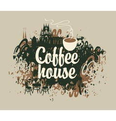 coffee house with a cup vector image vector image