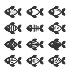 fish icons set on white background vector image vector image