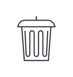 garbage office bin line icon sign vector image