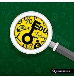 Magnifying glass on school board Education concept vector image vector image