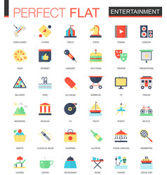set of flat entertainment icons vector image vector image