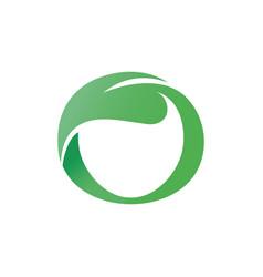 green leaf shaped circle letter o vector image vector image
