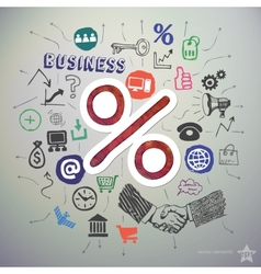 Hand drawn business icons set and sticker with vector image vector image