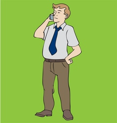 Man Standing With Phone vector image vector image