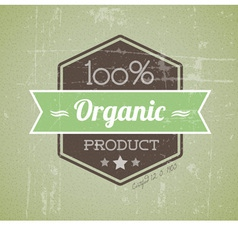 quality retro label green organic vector image vector image