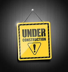 Under construction sign hanging with chain vector image vector image