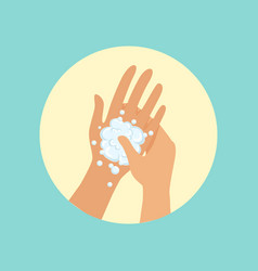 washing hands focus on palm round vector image