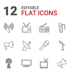 12 broadcast icons vector