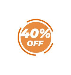 40 percent off sale label design template vector