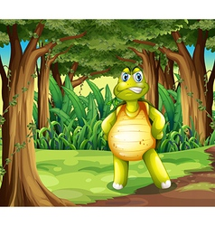 A forest with a turtle standing in the middle of vector image