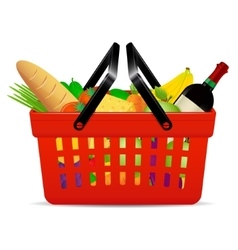 A red plastic shopping basket with groceries vector
