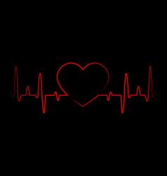 abstract heart beats cardiogram cardiology black vector image