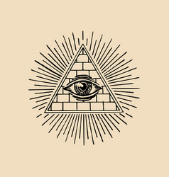 All-seeing eye freemasonry pyramid vector