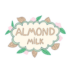 almond milk label vector image