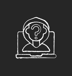 Anonymous cyberbullying chalk white icon on black vector