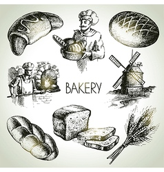 Bakery sketch icon set vector image