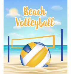 beach volleyball and net on a sea sand beach vector image