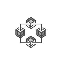 blockchain technology gray icon or design vector image