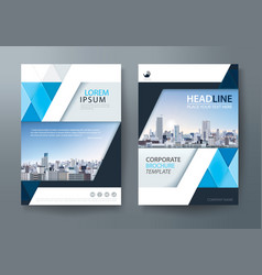 Blue annual report brochure flyer design template vector