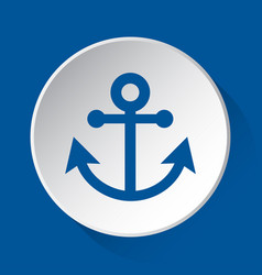 boat anchor - simple blue icon on white button vector image