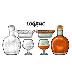 bottle glass cigar and ashtray handwriting vector image