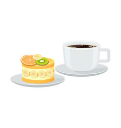 bright banner with cup espresso and tasty pie vector image