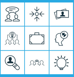 Business icons set with suitcase collaborative vector