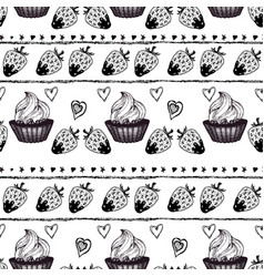 Cakes and strawberry engraving seamless pattern vector