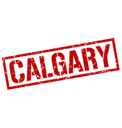 Calgary red square stamp vector