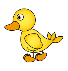 Caricature yellow duck side view animal icon vector
