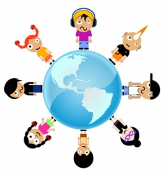 Cartoon kids around the world vector