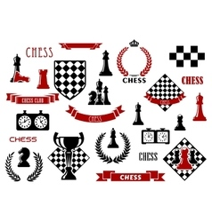 Chess game and heraldic design elements vector