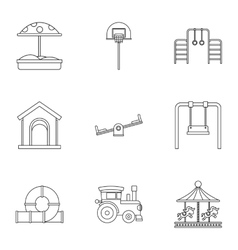 Children entertainment icons set outline style vector