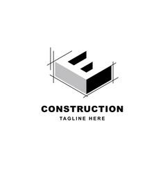 Construction logo design with letter e shape icon vector
