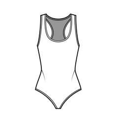 Cotton-jersey thong bodysuit technical fashion vector