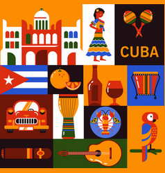 Cuba travel icons vector