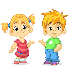 Cute cartoon boy and girl vector