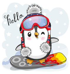 cute cartoon penguin on a snowboard vector image