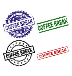 damaged textured coffee break seal stamps vector image