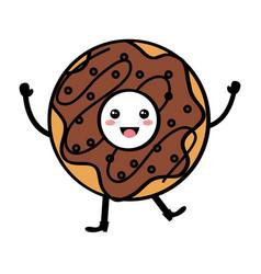 Delicious sweet donut kawaii character vector