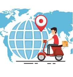Delivery worker in motorcycle vector