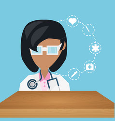 doctor with stethoscope and medical icons vector image