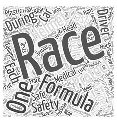 Driver safety in formula one racing word cloud vector